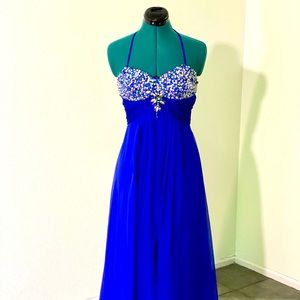 Blue sequined chiffon evening gown